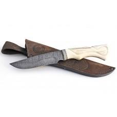 Нож Енот (дамаск, рог лося)