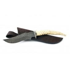 Нож Ворон: сталь дамаск; резная рукоять рог лося