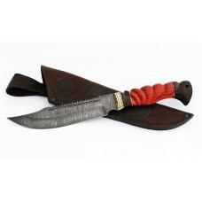 Нож Алтай: сталь дамаск, пила, дол; резная рукоять падук-венге